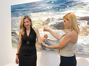 Christina Charokopou, Founder & Creative director THE BRITELINE® and Zeta Tzioti, Founder of ArtViews.gr at The Blender Gallery.