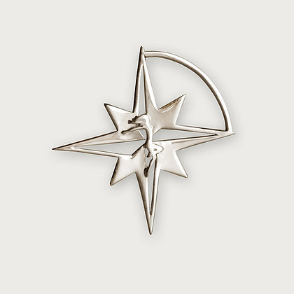 Let The Star Guide you Compass Star Brooch