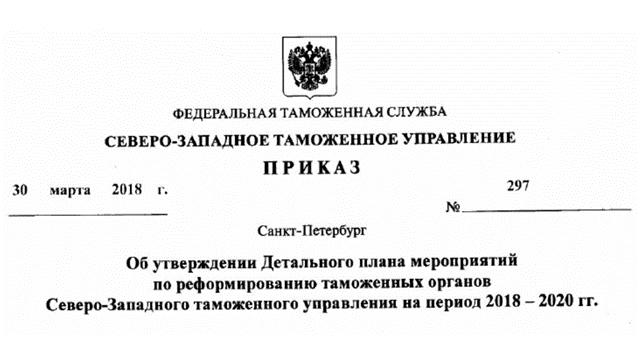 Приказ СЗТУ №297 от 30.03.2018