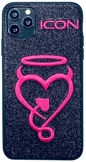 Halo My Heart | iPhone Case | Star Dust Black + Hot Pink
