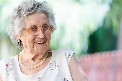 elderly lady having a laugh