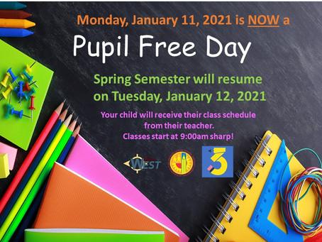 SCHOOL UPDATES - WEEK OF 1/11