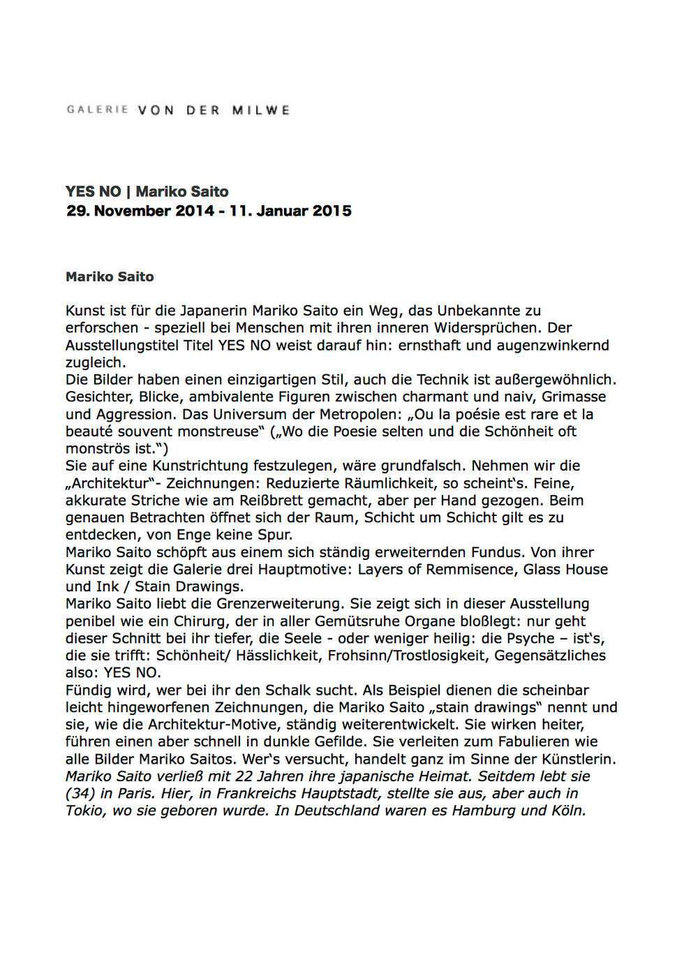text for exhibition at Galerie von der Milwe /german