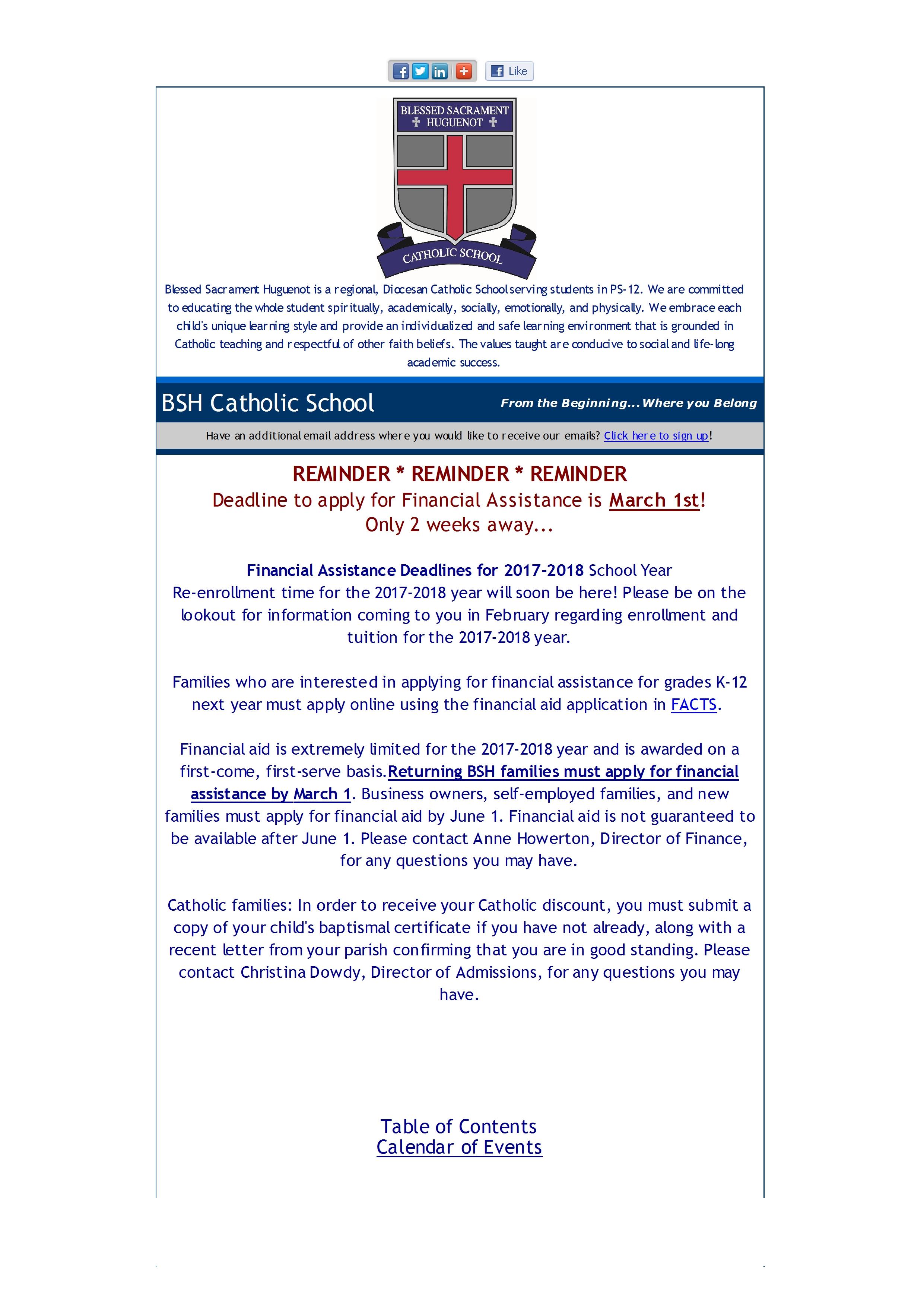 Mid Week Updates Blessed Sacrament Huguenot Catholic School