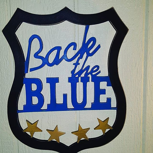 Back the Blue Badge Wall Hanger
