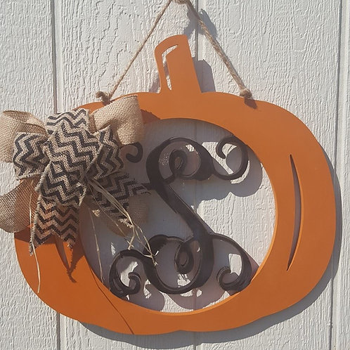 Wood Monogram Pumpkin