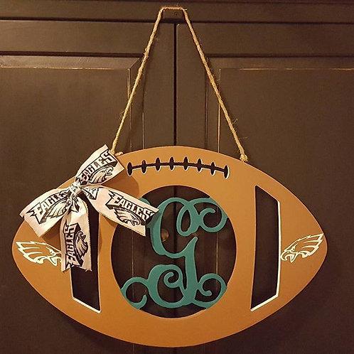 """NFL 18"""" Wood Monogram Football"""