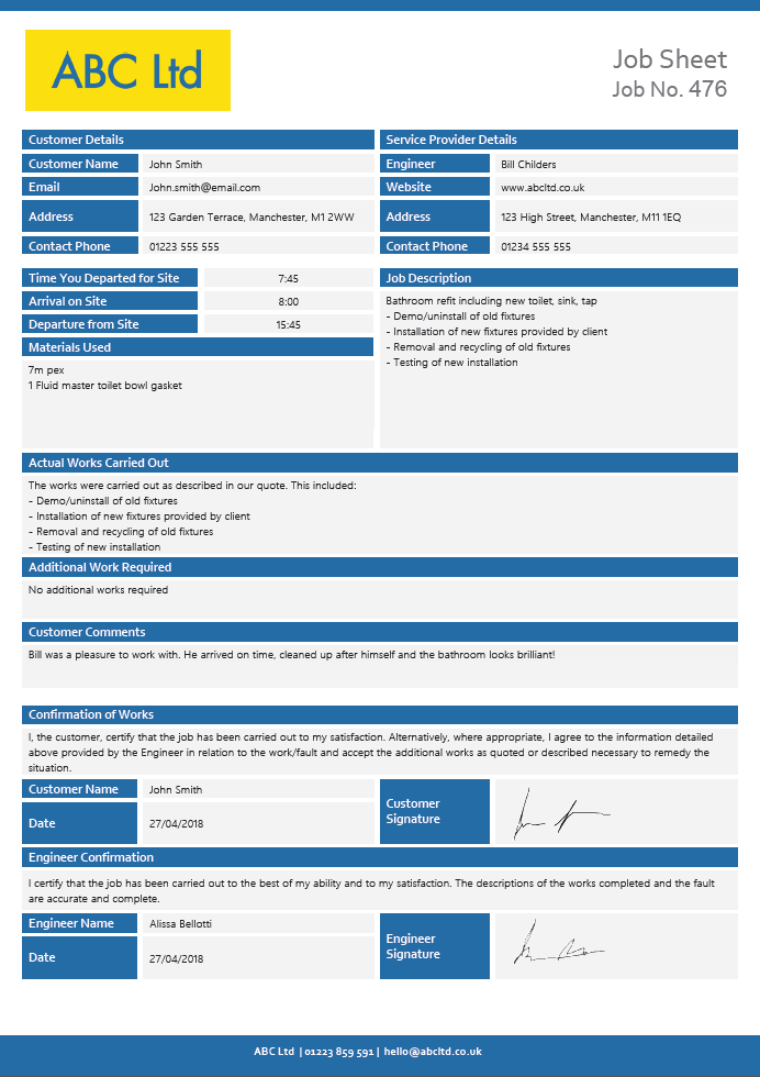 Job Sheet page 1