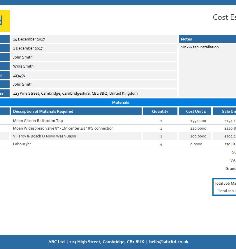 Cost Estimate Form