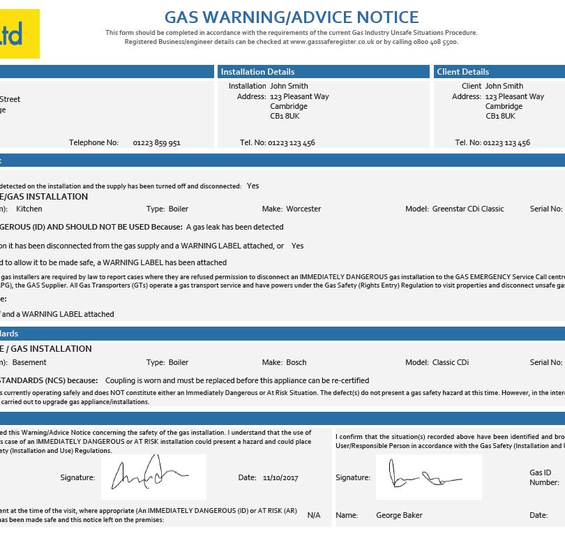 Gas Warning Notice - CP 14