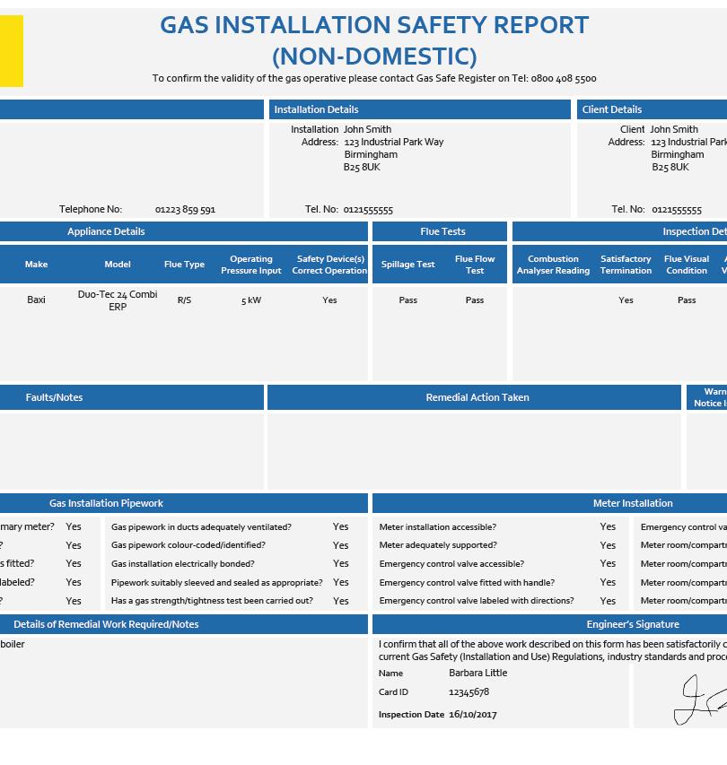 Gas Installation Safety Report Non-domestic - CP 17
