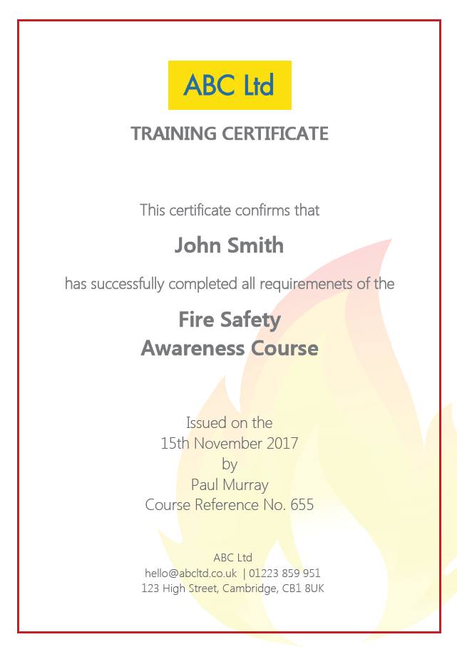Fire Safety Awareness Training Certificate