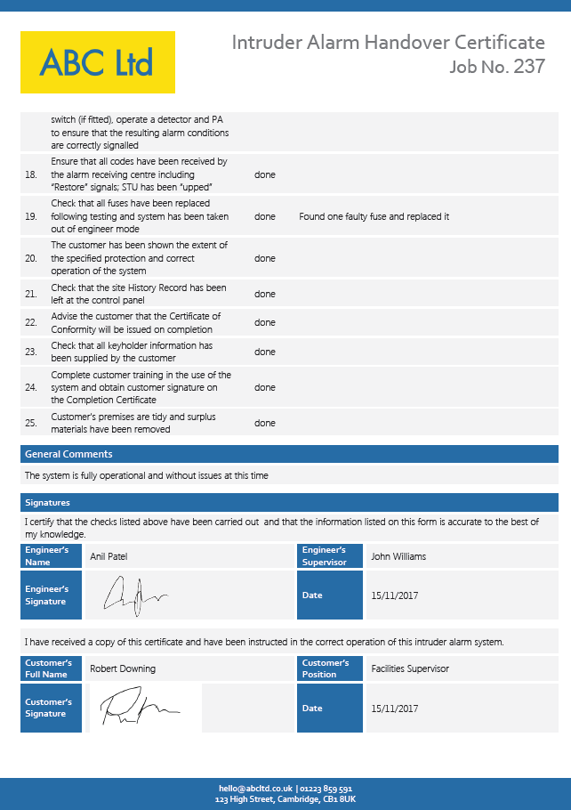 Intruder Alarm Handover Certificate page 2