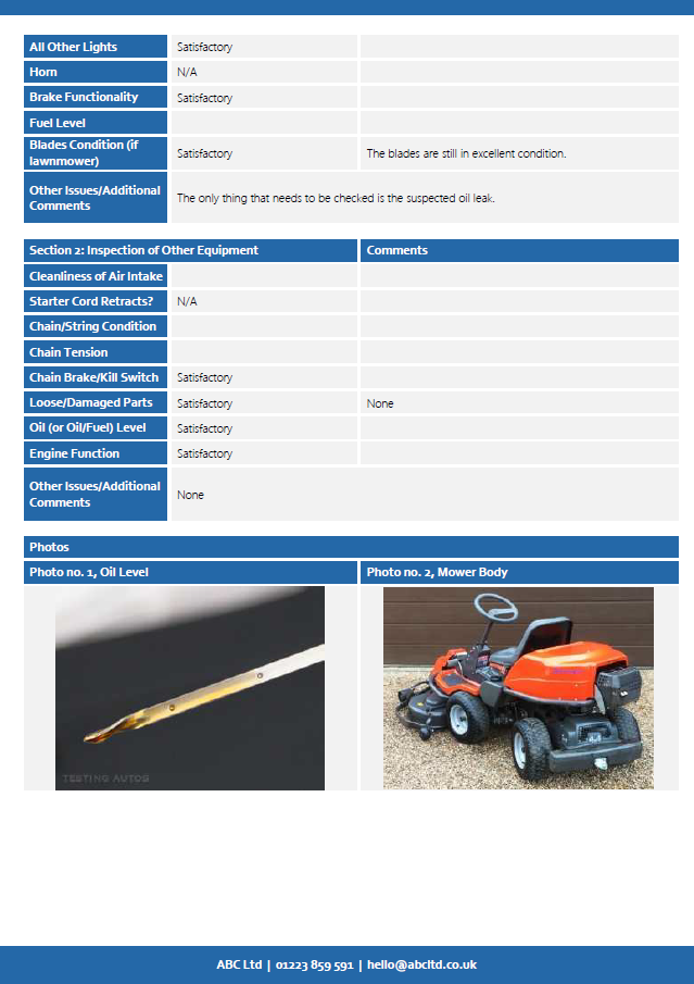 Vehice, Lawnmower & Equipment Inspection Checklist page 2