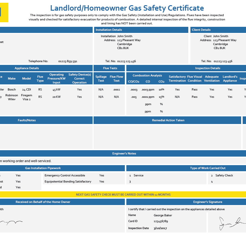 Landlord Homeowner Gas Safety Certificate - CP 12
