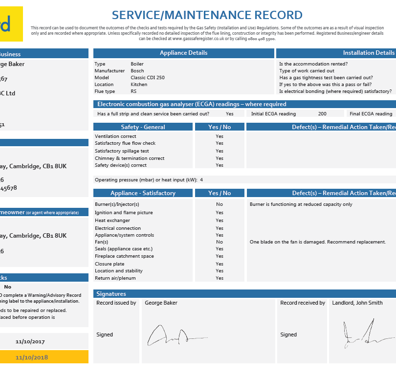 Gas Service/Maintenance Record - CP 6