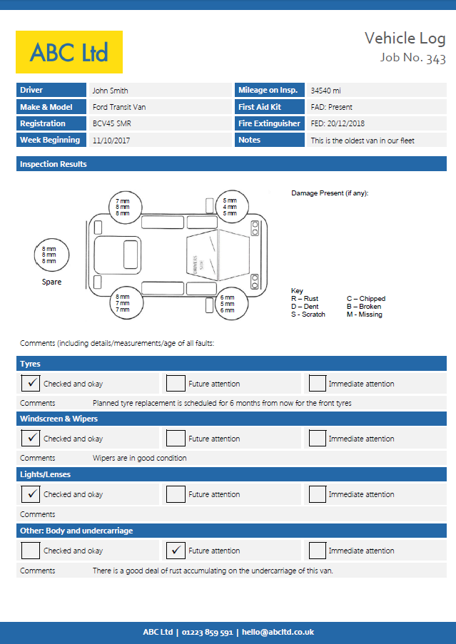 Graphical Vehicle Inspection Checklist page 1