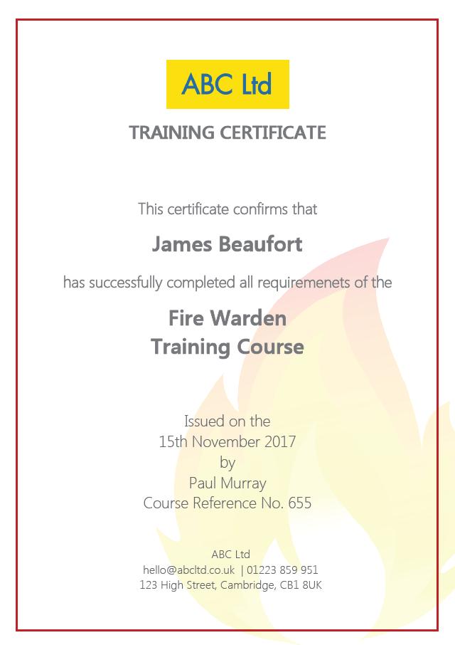 Fire Warden Training Certificate