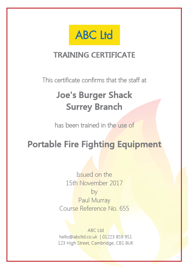 Fire Extinguishers Training Certificate for Staff