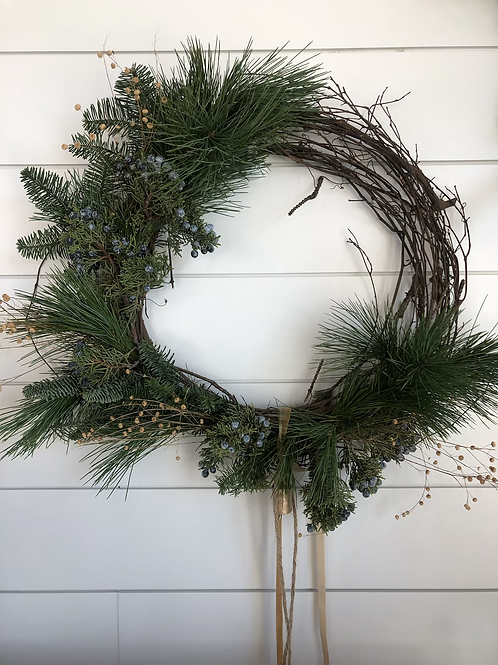 Asymetical Grapevine holiday Wreath