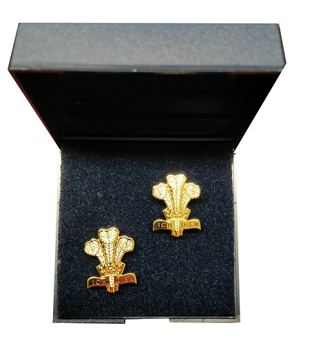 Royal Regiment of Wales Cuff Links (Gold & White)