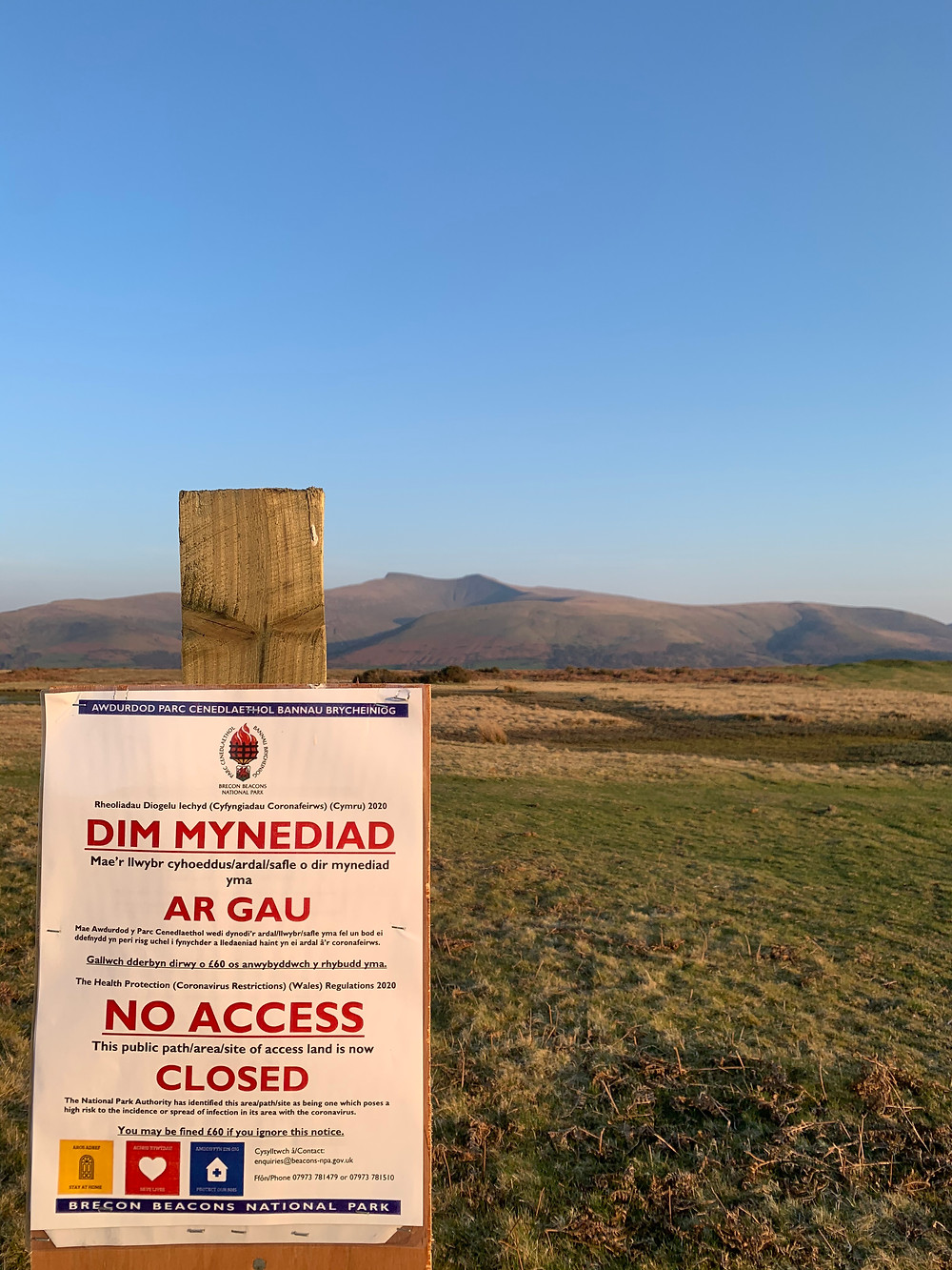 Pen-Y-Fan Closed Sign