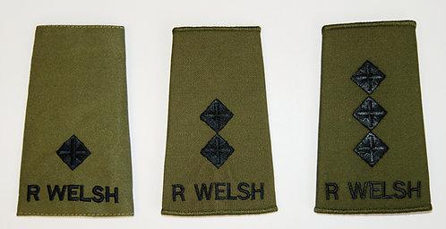 Royal Welsh Officers Olive Green Rank Slides (2Lt to Maj Gen)
