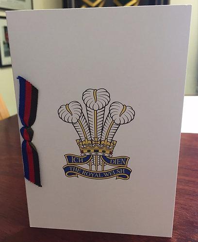 Royal Welsh Cap Badge Card (No Message Inside)