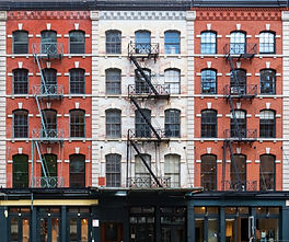 Wall of windows on buildings in Tribeca