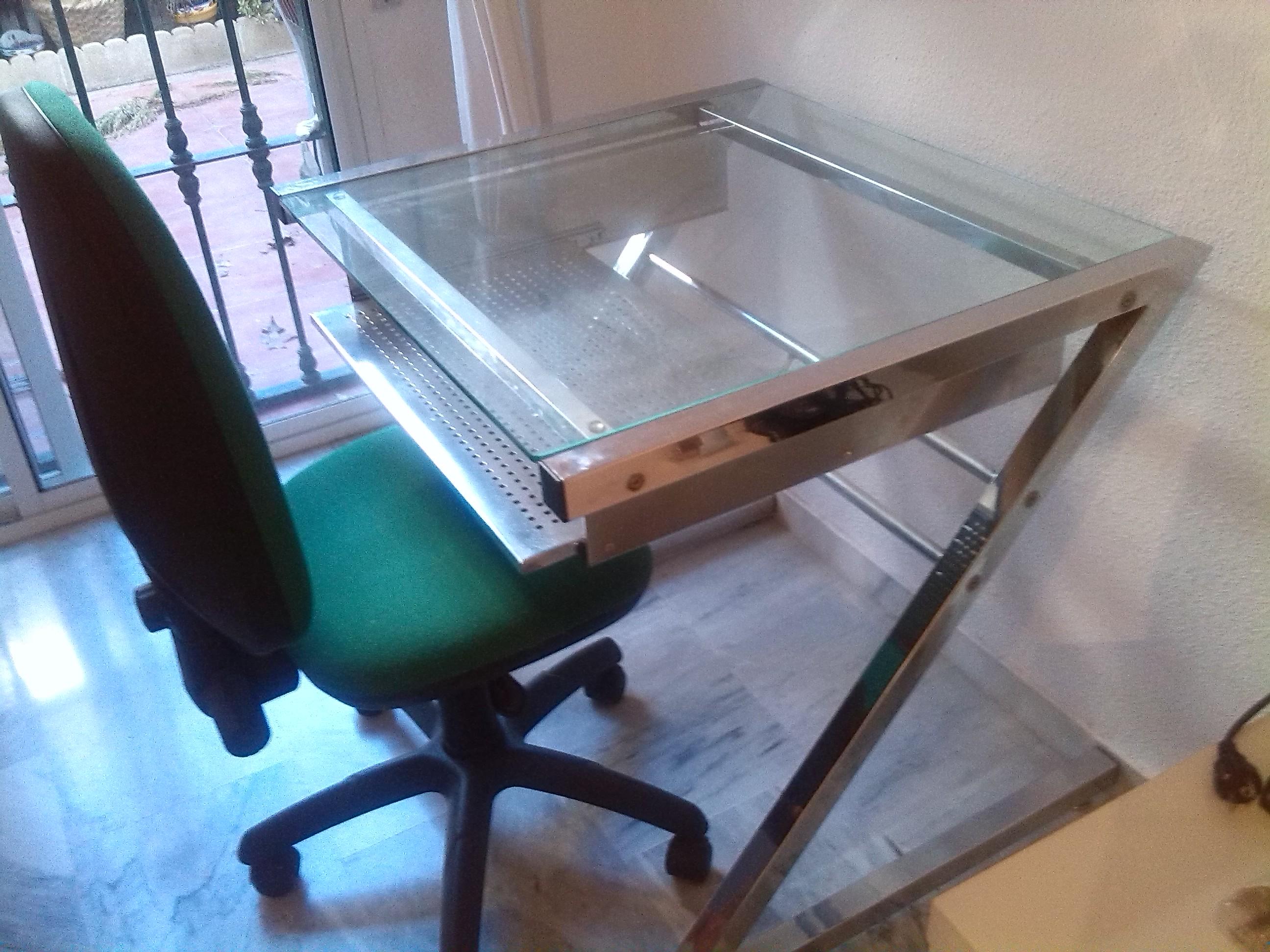 Glass and chrome desk