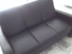 3 Seater Black leather look sofa