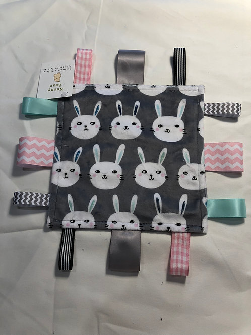 Small Lovie Blanket - Bunny Bunch Gray / Pink Ribbons