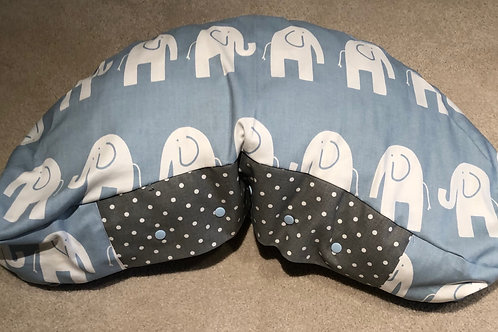Bean -Weathered Blue Elephants with Storm Gray Mini Dots
