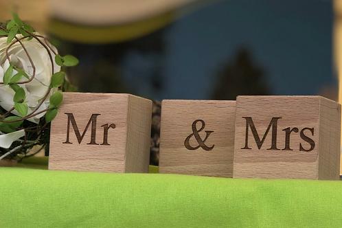 Hochzeit Holzwürfel - einseitig beschriftet