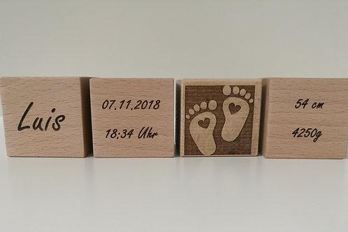 Baby Holzwürfel - einseitig beschriftet