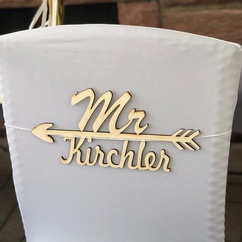 Mr & Mrs-Schild personalisiert