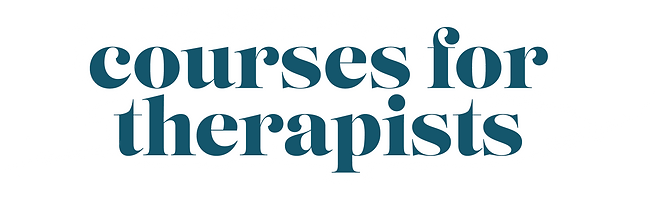 """""""Courses for Therapists"""" overlayed against a paint stroke backdrop"""