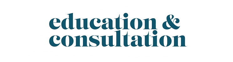 """""""Education & Consultation"""" overlayed against a paint stroke backdrop"""