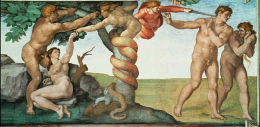 Image of Michelangelo's fresco of the biblical moment of the Fall.