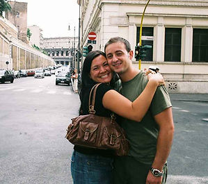 Erin hugging her Albanian in Rome, Italy