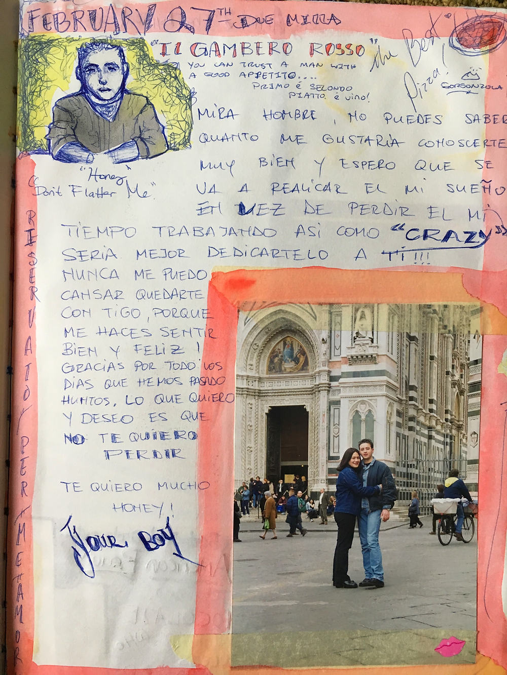 First Love Note From My Albanian and our first picture together looking very young.