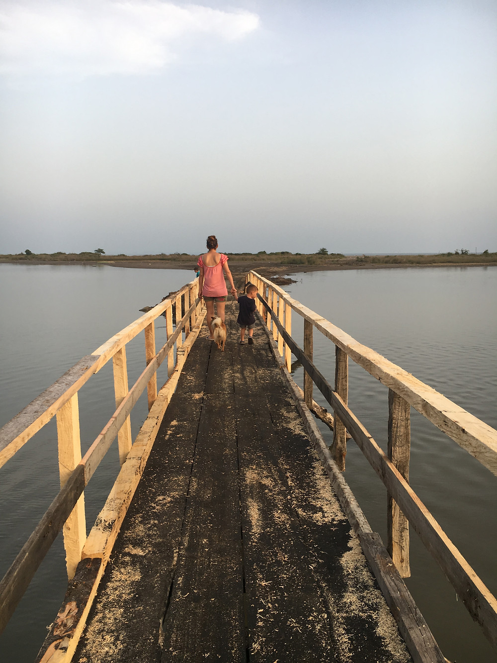 taking a walk down the new bridge to the beach
