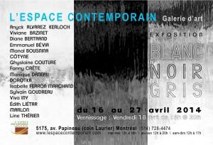 Exposition « BLANC – NOIR – GRIS » L'espace contemporain de Montréal