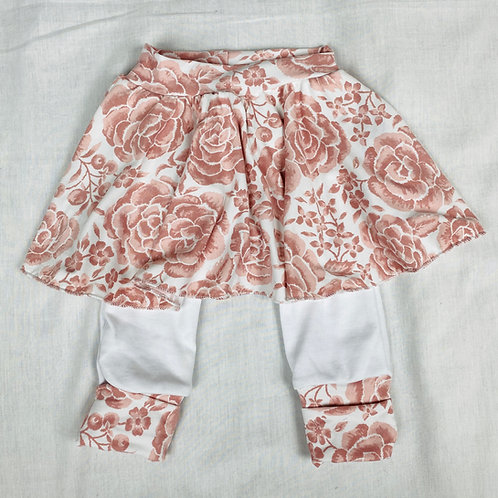 3mo - 12mo Grow-with-Me Pants with Skirt (Soft Pink Floral on White)