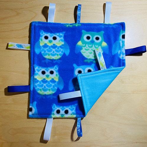 Owl Fleece Taggie (Blue Flannel Back)