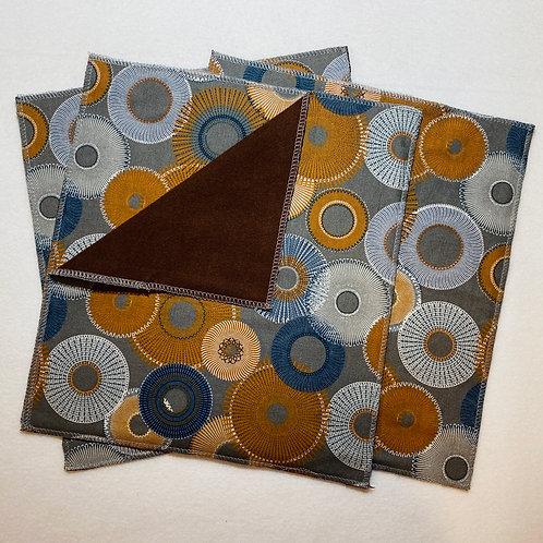 Brown on Gray Circles Unpaper Towels (4)