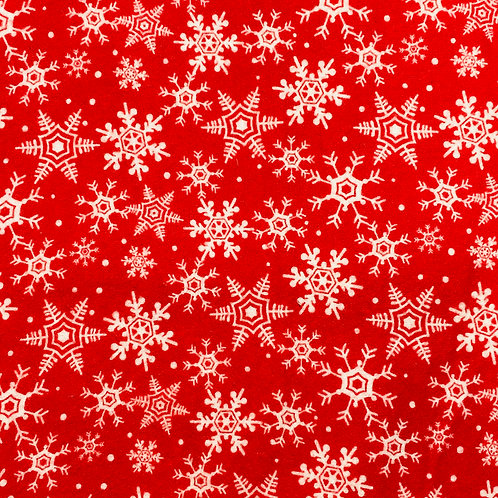 Flannel Red Snowflakes