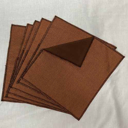 Mini Brown Check Unpaper Towels (6)