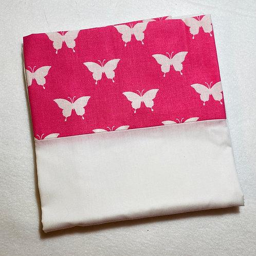 Pink Butterflies Cotton Pillowcase (Border)