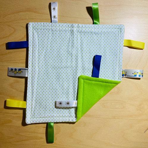 copy of Mini Green Polka Flannel Taggie (Minion Tags)